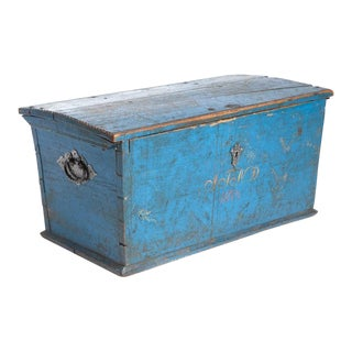 1874 Swedish Blue Wooden Craft Chest