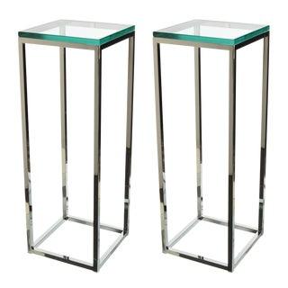 Pair of Milo Baughman Chrome and Glass Pedestals