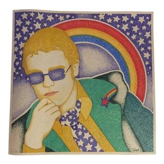 Original Vintage Elton John Illustration