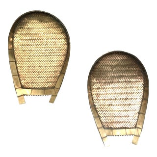 Vintage Woven Brass Rice Scoop Wall Decor - A Pair