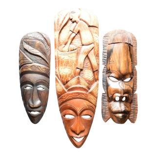 African Hand Carved Wooden Masks - Set of 3