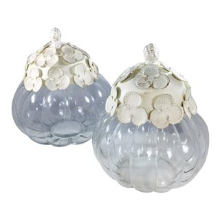 Glass Jar With White Washed Metal Flowered Lid - A Pair