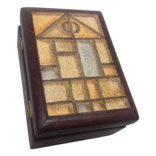 Mid-Century Decorative Box With Geometric Top