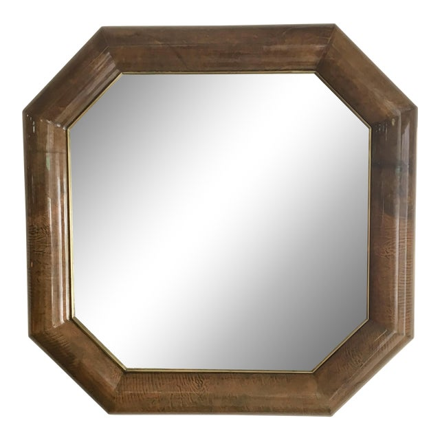 Mid-Century Goatskin & Brass Frame Mirror - Image 1 of 5