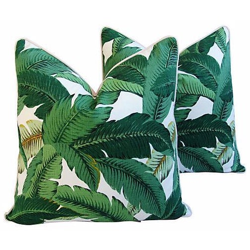 Custom Tropical Iconic Banana Leaf Feather/Down Pillows - a Pair - Image 1 of 7
