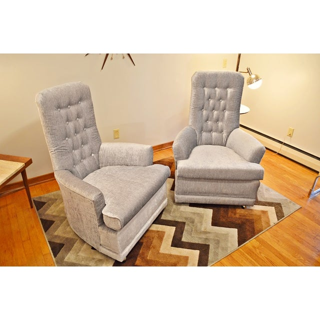 Mid Century Velvet Tufted High-Back Chairs - Pair - Image 7 of 8