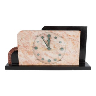 French Art Deco Streamline Exotic Pink, Black and Red Marble Table Clock
