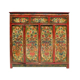 Chinese Tibetan Jewel Flower Tall Credenza Cabinet