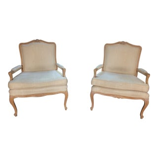Vintage French Louis XV Bergere Chairs - A Pair