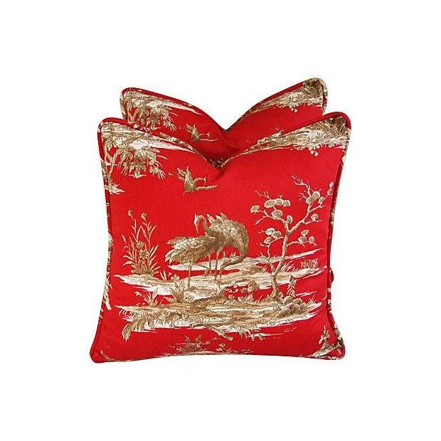 Designer Shanghai Crane Toile Pillows - Pair - Image 1 of 8
