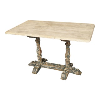 Small Stripped and Parcel Painted Antique French Restaurant Table, Early 1900s