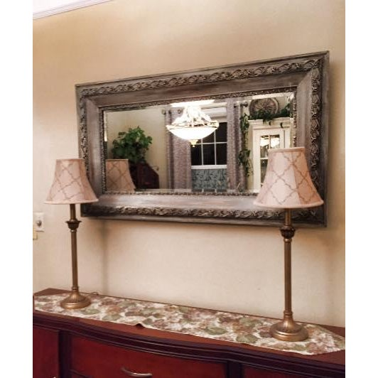 Vintage French Shabby Chic Gray & White Mirror - Image 4 of 4