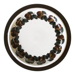 Arabia Finland Ruija Round Serving Platter Chop Plate Mid Century Modern Brown White