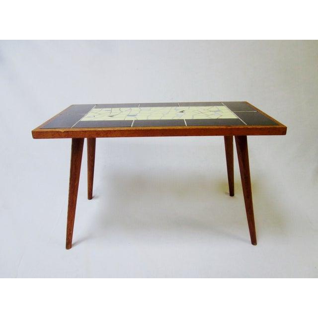 Mcm Teak Coffee Table: Mid-Century Modern Teak Tile Top Coffee Table