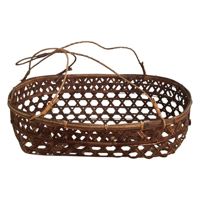 Image of Large Vintage Wicker Bassinet With Rope Handles