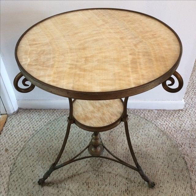 Gueridon Vintage Neoclassical Bronze & Onyx Table - Image 2 of 10
