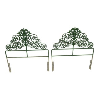 Vintage Ornamental Wrought Iron Twin Headboards - A Pair