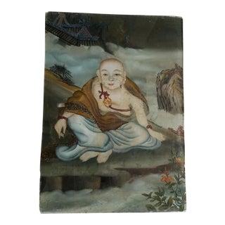 19th Century Glass Buddha Painting.
