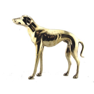 Large Brass Whippet or Greyhound Statuette
