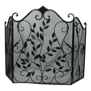 Three Paneled Black Metal Fireplace Screen