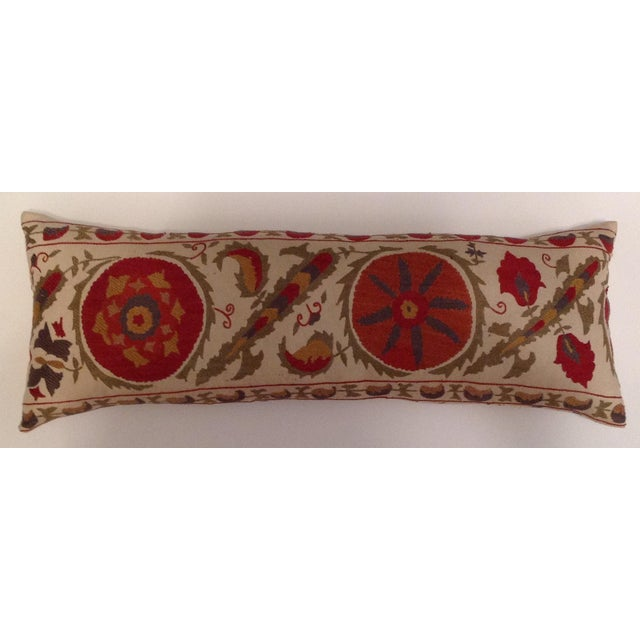Red & Tan Silk Embrodery Suzani Pillow - Image 10 of 10