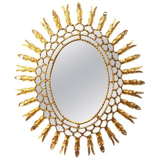 Decorative Sunburst Gilt Gold Wall or Console Mirror