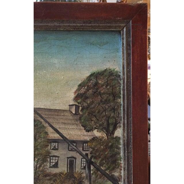 19th Century Folk Art Oil on Canvas Painting - Image 3 of 7