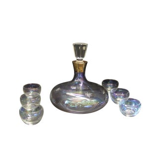 Vintage Bohemian Decanter and Glasses
