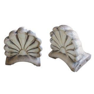 Impressive Pair of American Neoclassical Style Pottery Architectural Anthemions