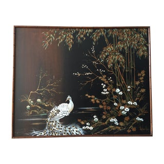 Large Original Chinoiserie Peacock Oil Painting