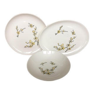 Stetson Yellow Dogwood Ceramic Serving Dishes- Set of 3