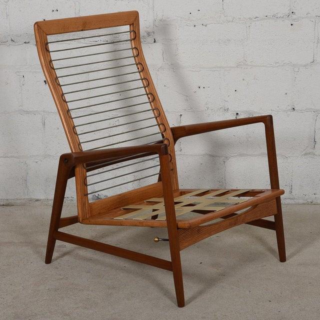 Kofod Larsen Danish Modern Teak Adjustable Lounge Chair with Ottoman - Image 10 of 10