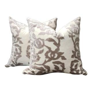 Contemporary Linen Pillows With Velvet - a Pair