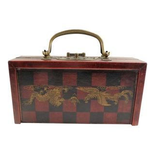 Chess Set In Phoenix Bird & Dragon Wood Carrying Case