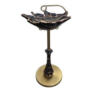 Mid-Century Ceramic Gold Black Leaf Dish Ashtray Stand