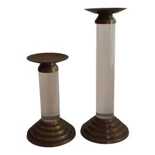 Brass & Lucite Cylinder Candleholders - a Pair
