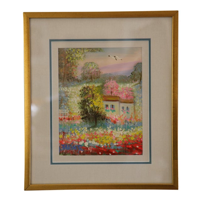 Gold Framed Painting: Little House in a Garden - Image 1 of 4