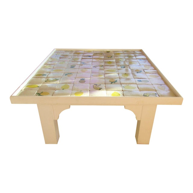 Custom Made Mario Genovesi Tile Top Table - Image 1 of 6