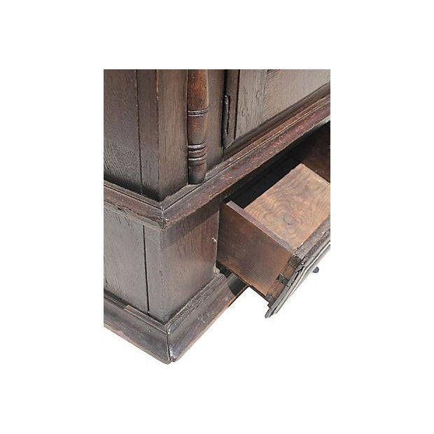 1690 Antique English Jacobean Wall Cupboard - Image 4 of 4