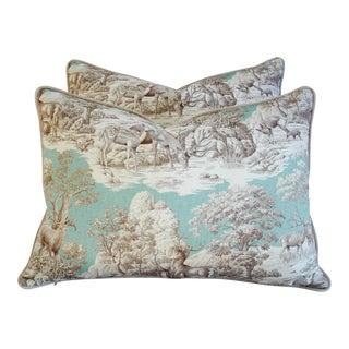 Designer Highland Toile Deer & Velvet Pillows - Pair