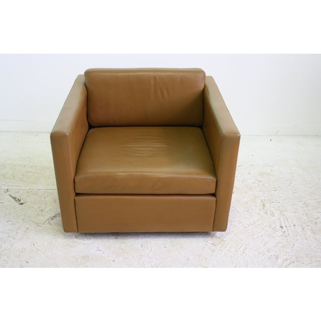 Knoll Pfister Brown Leather Club Chair - 4 Avail. - Image 3 of 6