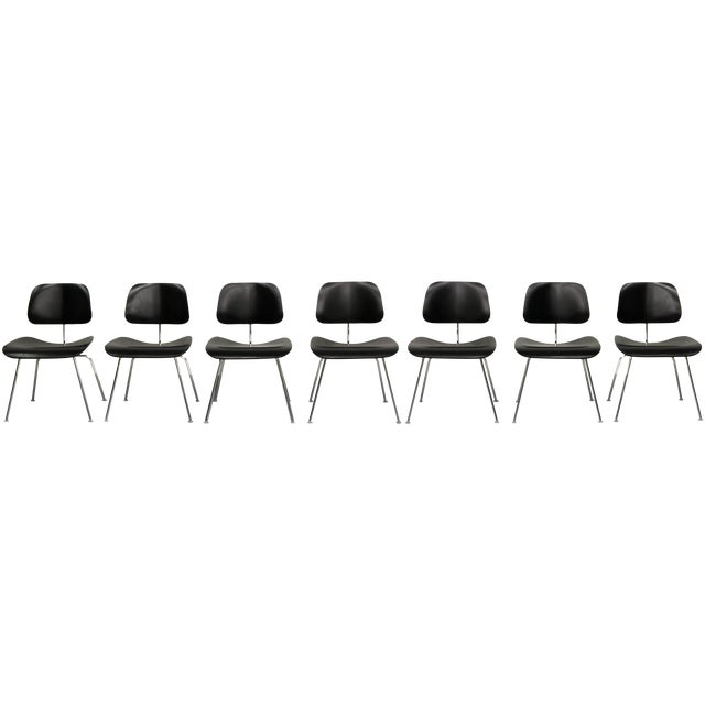 Set of 7 Authentic Eames Herman Miller Dcm Black Ebony Mid Century Dining Chairs - Image 8 of 8