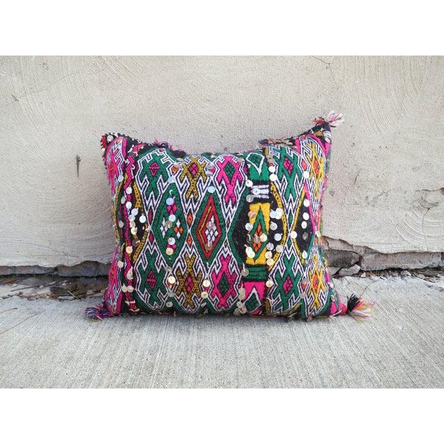 Moroccan Pink & Green Berber Kilim Pillow - Image 3 of 4