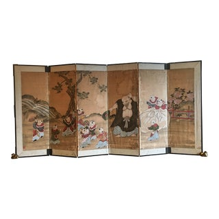Japanese Edo Period Six Panel Screen: Hotei and Boys, early 19th century