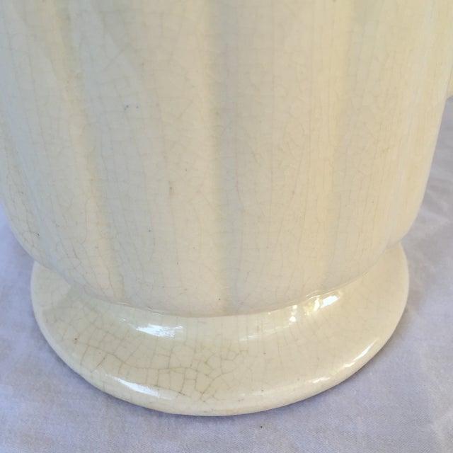 Art Deco Crackled Cream Ceramic Vase - Image 4 of 5