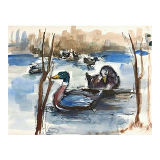 Ducks on Pond Watercolor Painting