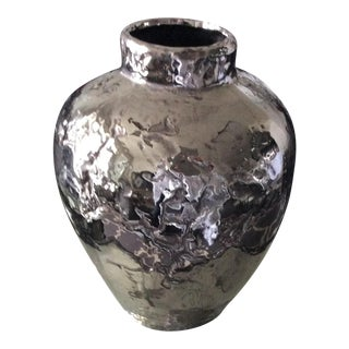 Chrome Ceramic Asian Style Contemporary Vase