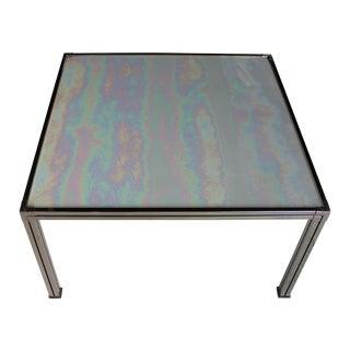 Chrome Coffee Table With Opal Slag Glass