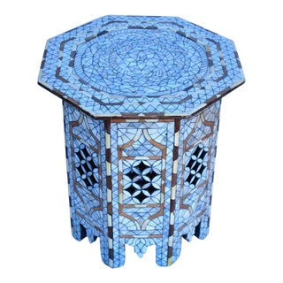 Fine Pair of Octagonal Syrian Mother of Pearl Inlay Side Tables Moorish
