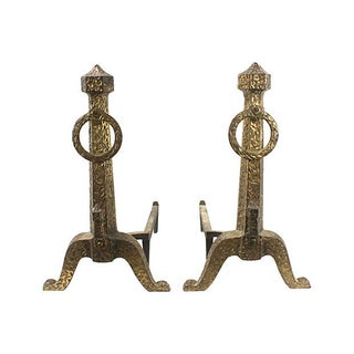 Mid-Century Gilded Brutalist Andirons - A Pair